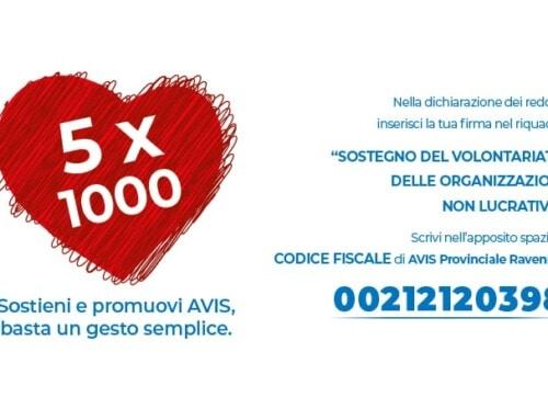 Dona il tuo 5×1000 ad Avis Provinciale Ravenna